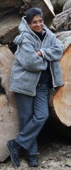 Fleece lined hooded jacket plait rope Mid Grey