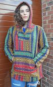 Open weave - gheri cotton - pullover - red/greeen