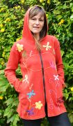 Dragonfly and Flower Long Jacket - Red