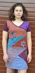 Applique flower short sleeve tunic aubergine