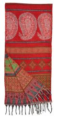Wool mix narrow scarf paisley red