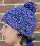 Two tone - turn up - bobble hat - pansy/blue