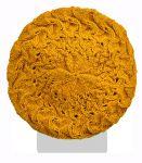 Half fleece lined - pure wool - scroll beret - Mustard