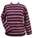 Pure wool  - hand knit jumper  - stripe - Heather