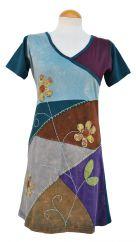 Applique flower short sleeve tunic teal