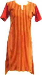 Stonewashed Striped Dress Orange