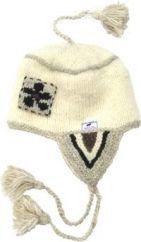Pure wool half fleece lined flower patch ear flap White
