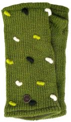 Fleece lined wristwarmers french knot   Moss Green