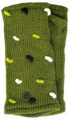 Fleece lined wristwarmers french knot   Moss Green