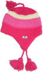 Pure wool half fleece lined snowboarder striped hat Pink