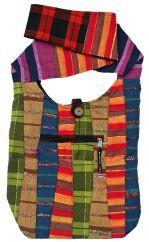 Multi-stripe strong cotton long handled bag red/black back