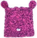 Pure wool half fleeced line square cable pom pom hat Pink/Purple
