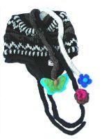 Pure wool half fleece lined fancy ear flap hat Natural Pattern