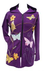 Butterfly And Flower Long Jacket Purple