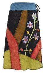 Applique stonewash midi skirt block colours