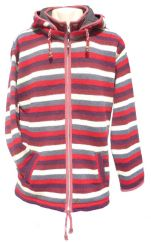 Fleece lined detachable hood striped jacket Red/Rust