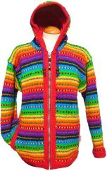 Fleece lined hooded jacket tick Rainbow