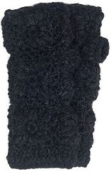 Fleece lined wristwarmer crochet Black
