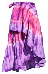 Frilled wrap round tie dye skirt purple/pink