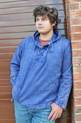 Stonewash Cotton Hooded Shirt With Toggles Blue