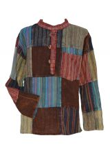 Stonewashed patchwork shirt assorted colours
