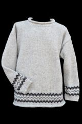 Pure wool hand knit  jumper Zig zag pale grey