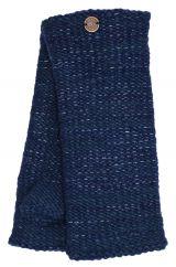 Fleece lined Fine Wool Mix wristwarmer  Dark blue