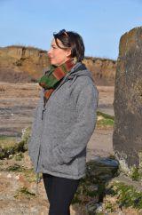 Fleece lined crochet edged detachable hood jacket Mid grey