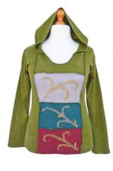 Hooded top large squares stonewashed  green