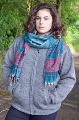 Wool mix narrow scarf paisley teal