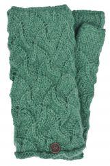 Naya hand knitted scroll wristwarmer bluegrass