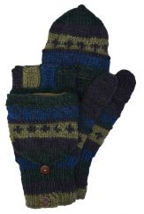 NAYA hand knit pattern mitts green/blue