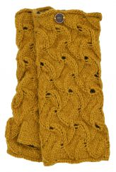 Naya hand knitted scroll wristwarmer mustard