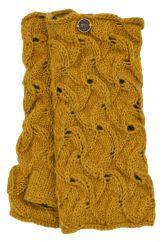 Naya hand knitted -scroll wristwarmer mustard