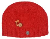 Pure wool - half fleece lined - fruit button - beanie - Red