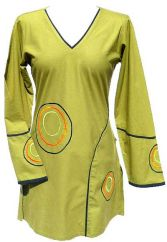 ***SALE*** Cotton Tunic Embroidered Circles Green