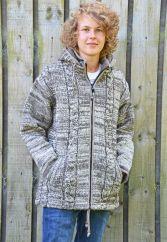 Fleece lined detachable hood cable jacket ultrawarm Brown