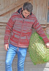 Fleece lined detachable hood two tone random stripe red/grey
