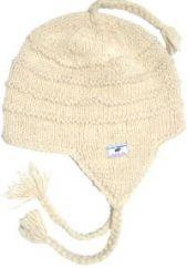 Pure wool half fleece lined ridge ear flap hat White