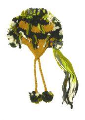 Pure wool half fleece lined stripes magua Mustard/Black