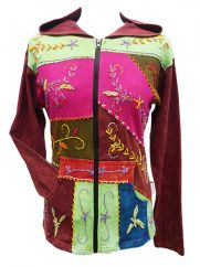 Embroidered patchwork hooded jacket rust