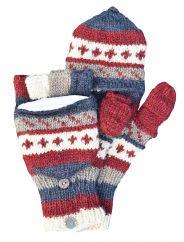 NAYA hand knit pattern mitts smokey