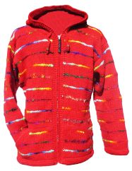 Fleece lined hooded jacket soft wool and recycled silk Red