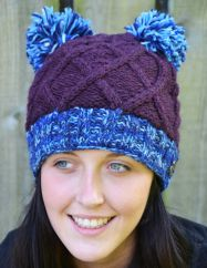 Hand knit half fleece lined two pom cable bobble hat Purple blue