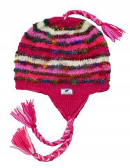 Hand knit half fleece lined recycled silk ear flap hat Pink