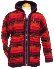 Fleece lined hooded jacket patterned  Red/Rust