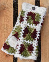 Fleece lined wristwarmer crochet squares white/autumn