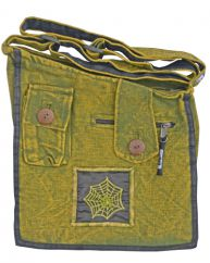 Stonewashed multi pocketed spider web bag green