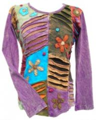 'Cut' and Applique Flower Patchwork Top Purple