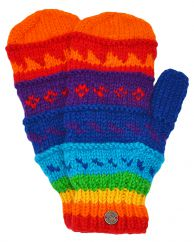 Fleece lined  mittens patterned  Rainbow